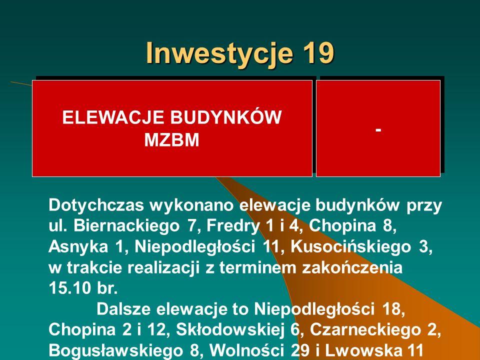 Inwestycje 19 ELEWACJE BUDYNKÓW MZBM ELEWACJE BUDYNKÓW MZBM - - Dotychczas wykonano elewacje budynków przy ul.