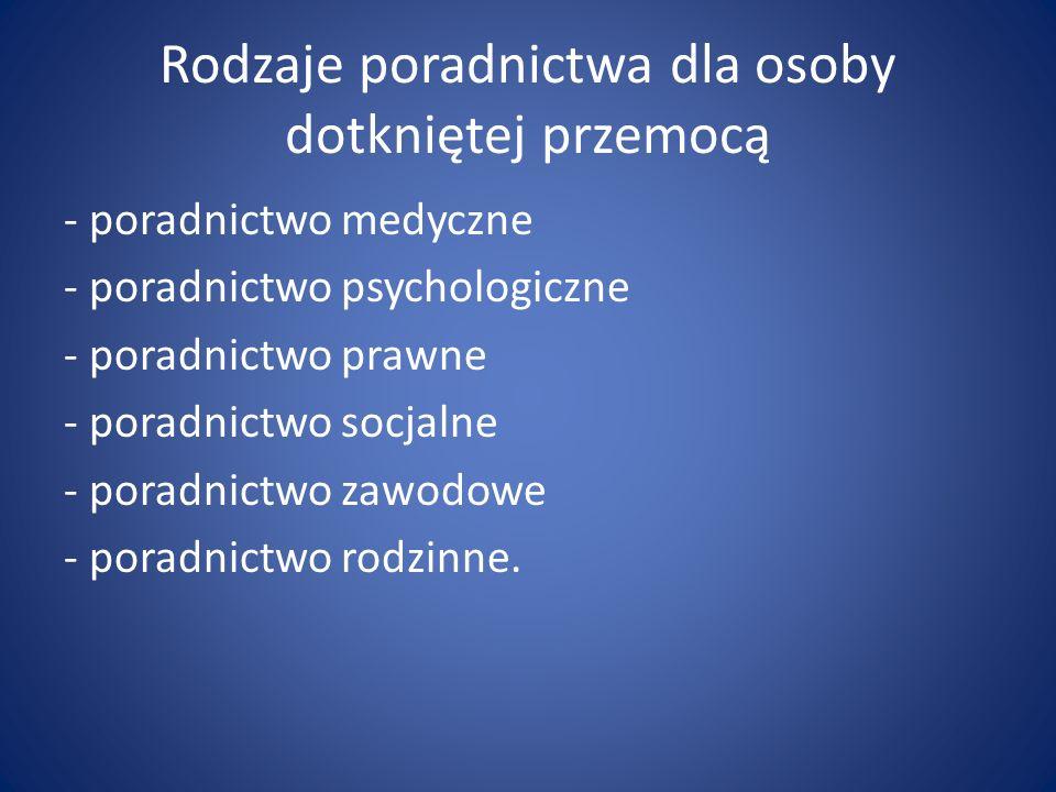 Rodzaje poradnictwa dla osoby dotkniętej przemocą - poradnictwo medyczne - poradnictwo psychologiczne - poradnictwo prawne - poradnictwo socjalne - po