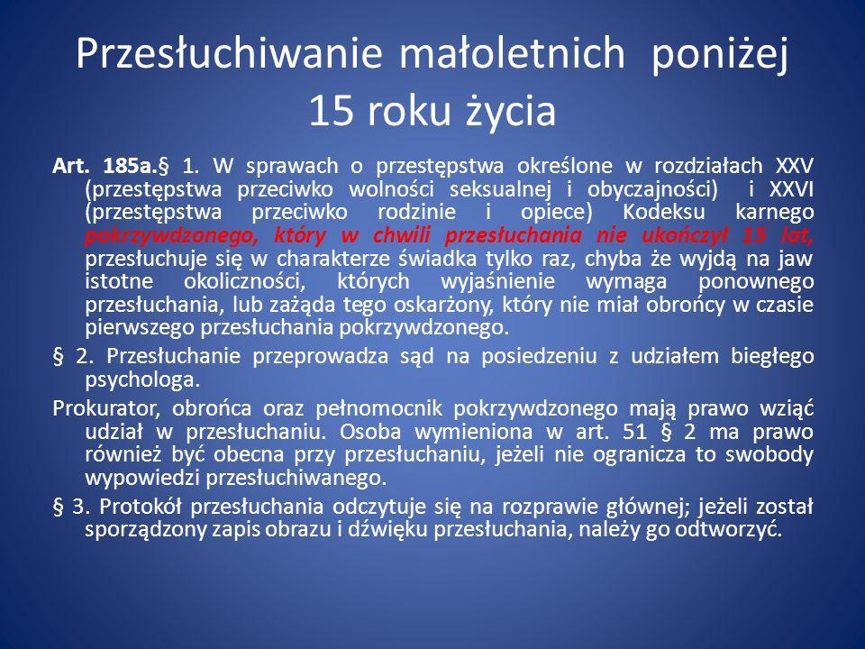 Przesłuchiwanie małoletnich poniżej 15 roku życia Art. 185a.§ 1. W sprawach o przestępstwa określone w rozdziałach XXV (przestępstwa przeciwko wolnośc