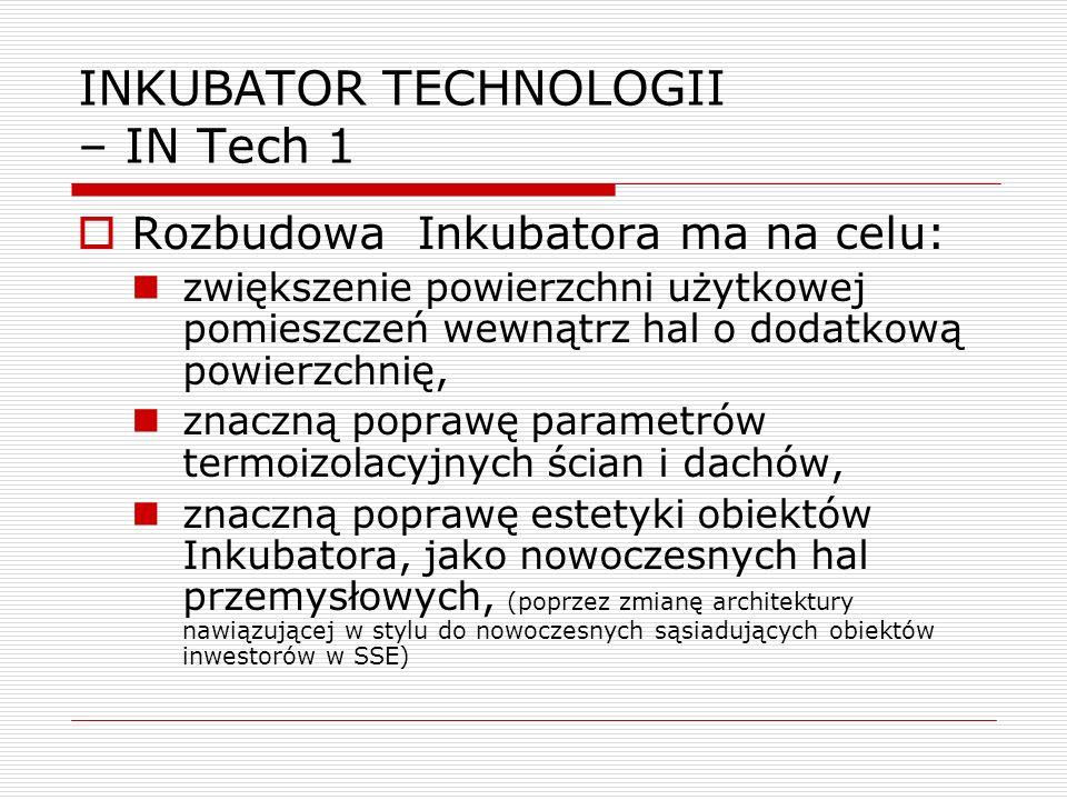 Rozbudowa Inkubatora ma na celu: zwiększenie powierzchni użytkowej pomieszczeń wewnątrz hal o dodatkową powierzchnię, znaczną poprawę parametrów termo