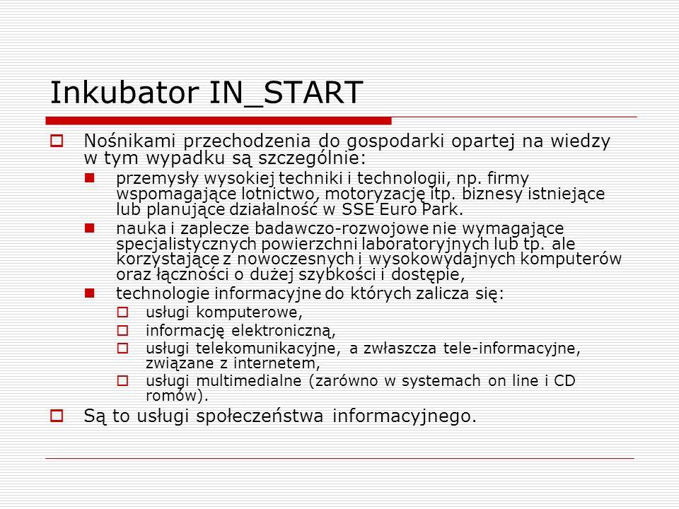Inkubator IN_START Nośnikami przechodzenia do gospodarki opartej na wiedzy w tym wypadku są szczególnie: przemysły wysokiej techniki i technologii, np