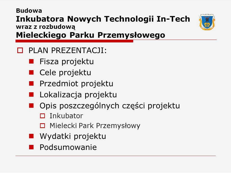 PLAN PREZENTACJI: Fisza projektu Cele projektu Przedmiot projektu Lokalizacja projektu Opis poszczególnych części projektu Inkubator Mielecki Park Prz