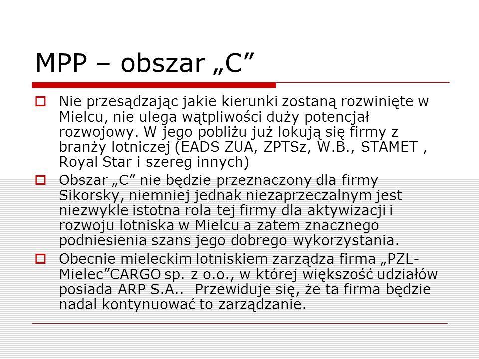 MPP – obszar C Nie przesądzając jakie kierunki zostaną rozwinięte w Mielcu, nie ulega wątpliwości duży potencjał rozwojowy. W jego pobliżu już lokują