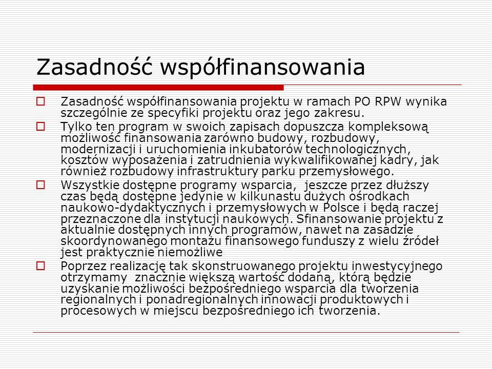 Zasadność współfinansowania Zasadność współfinansowania projektu w ramach PO RPW wynika szczególnie ze specyfiki projektu oraz jego zakresu. Tylko ten