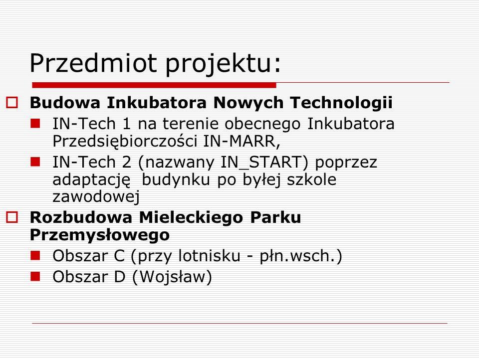 Przedmiot projektu: Budowa Inkubatora Nowych Technologii IN-Tech 1 na terenie obecnego Inkubatora Przedsiębiorczości IN-MARR, IN-Tech 2 (nazwany IN_ST