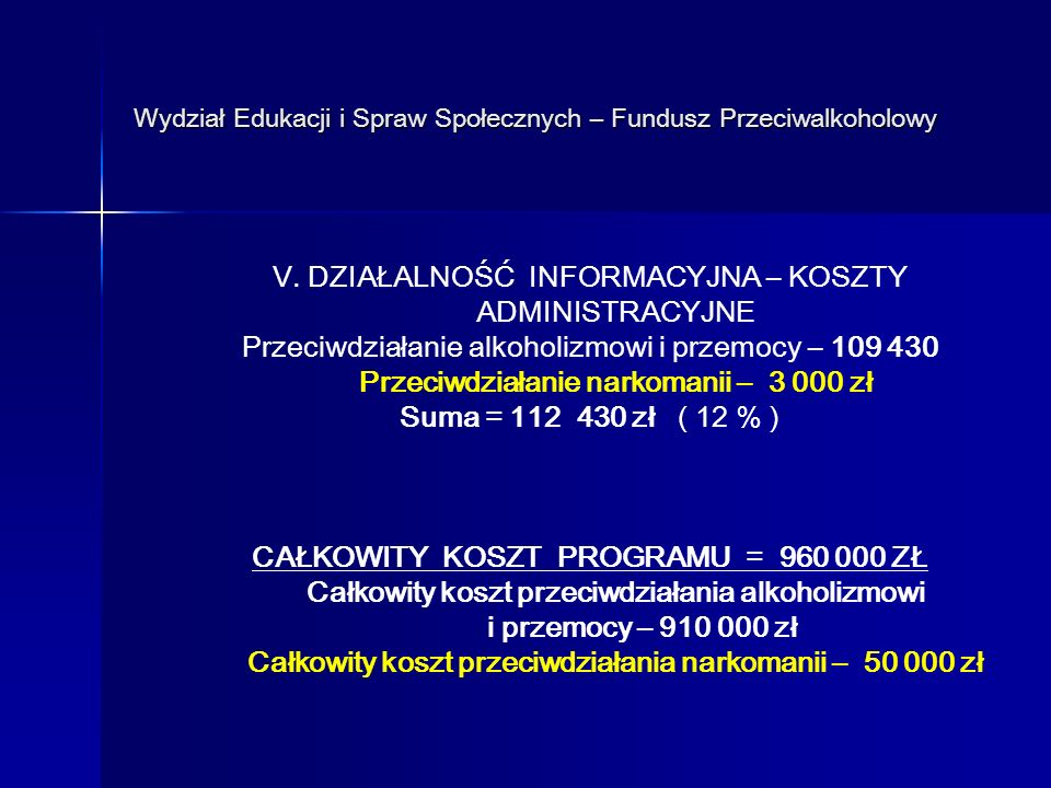 Wydział Edukacji i Spraw Społecznych – Fundusz Przeciwalkoholowy V.