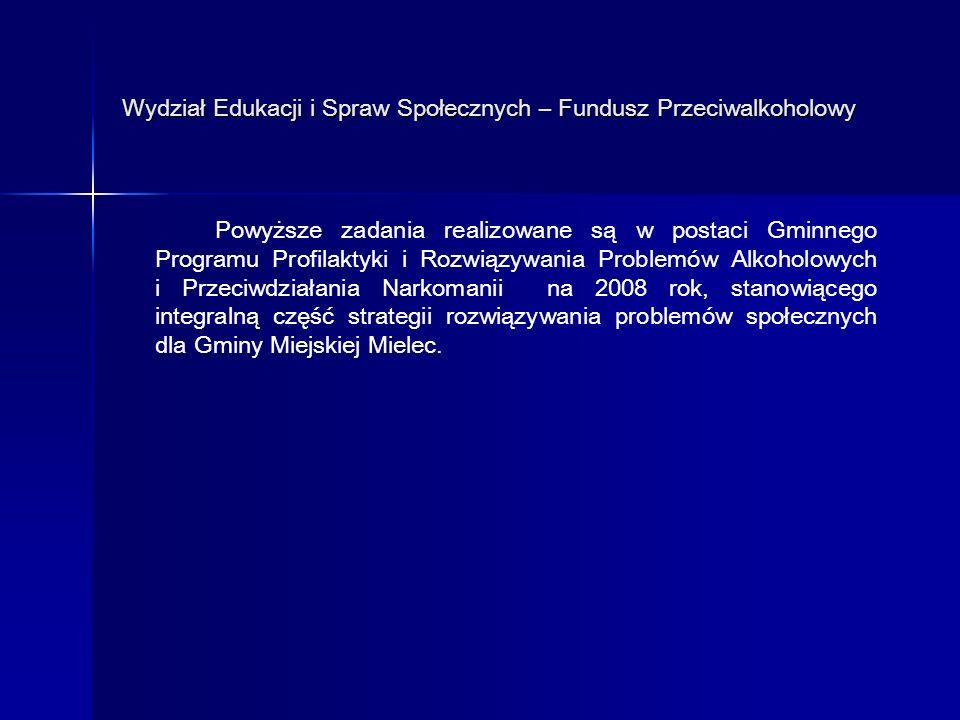 Wydział Edukacji i Spraw Społecznych – Fundusz Przeciwalkoholowy Załącznik nr 1 Podział środków finansowych przeznaczonych w 2008 r.