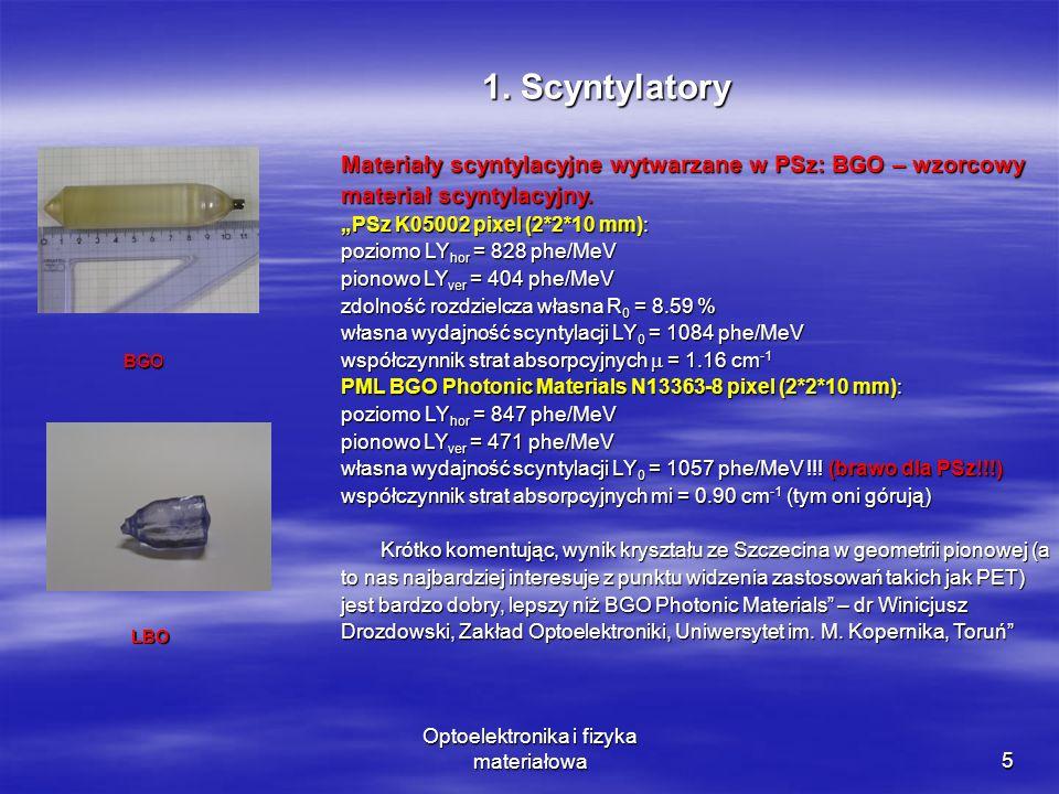 Optoelektronika i fizyka materiałowa5 Materiały scyntylacyjne wytwarzane w PSz: BGO – wzorcowy materiał scyntylacyjny.