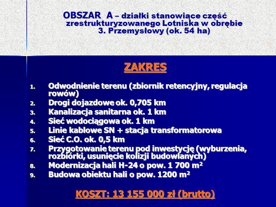 OBSZAR A – działki stanowiące część zrestrukturyzowanego Lotniska w obrębie 3. Przemysłowy (ok. 54 ha) ZAKRES 1. Odwodnienie terenu (zbiornik retencyj