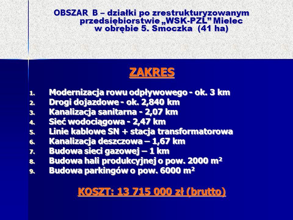 OBSZAR B – działki po zrestrukturyzowanym przedsiębiorstwie WSK-PZL Mielec w obrębie 5. Smoczka (41 ha) ZAKRES 1. Modernizacja rowu odpływowego - ok.