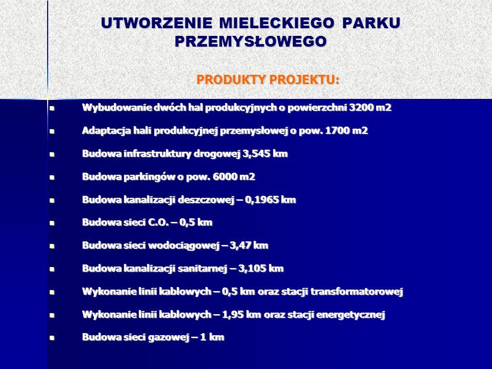 UTWORZENIE MIELECKIEGO PARKU PRZEMYSŁOWEGO PRODUKTY PROJEKTU: Wybudowanie dwóch hal produkcyjnych o powierzchni 3200 m2 Wybudowanie dwóch hal produkcy