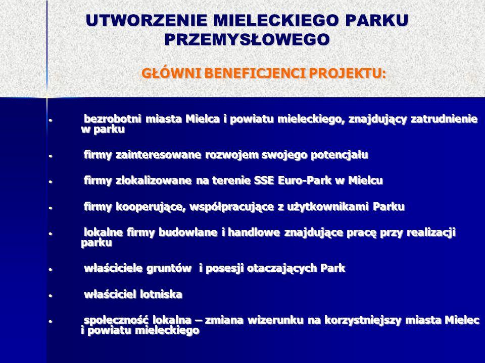 UTWORZENIE MIELECKIEGO PARKU PRZEMYSŁOWEGO GŁÓWNI BENEFICJENCI PROJEKTU: bezrobotni miasta Mielca i powiatu mieleckiego, znajdujący zatrudnienie w par