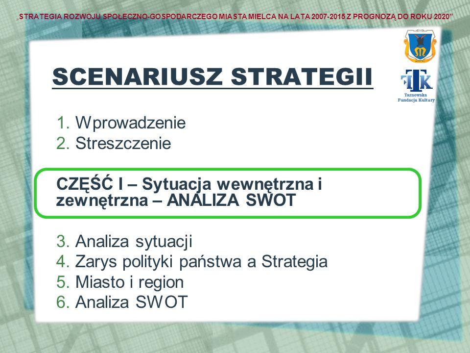 STRATEGIA ROZWOJU SPOŁECZNO-GOSPODARCZEGO MIASTA MIELCA NA LATA 2007-2015 Z PROGNOZĄ DO ROKU 2020 SCENARIUSZ STRATEGII 1. Wprowadzenie 2. Streszczenie