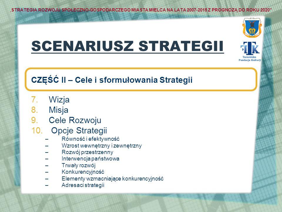 STRATEGIA ROZWOJU SPOŁECZNO-GOSPODARCZEGO MIASTA MIELCA NA LATA 2007-2015 Z PROGNOZĄ DO ROKU 2020 SCENARIUSZ STRATEGII CZĘŚĆ II – Cele i sformułowania