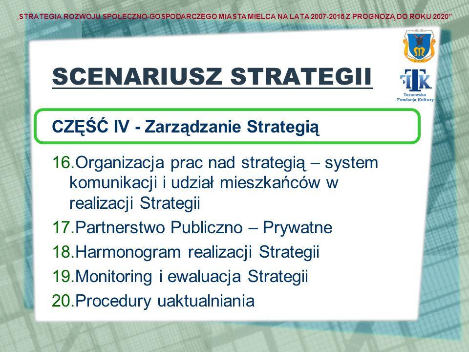STRATEGIA ROZWOJU SPOŁECZNO-GOSPODARCZEGO MIASTA MIELCA NA LATA 2007-2015 Z PROGNOZĄ DO ROKU 2020 SCENARIUSZ STRATEGII CZĘŚĆ IV - Zarządzanie Strategi