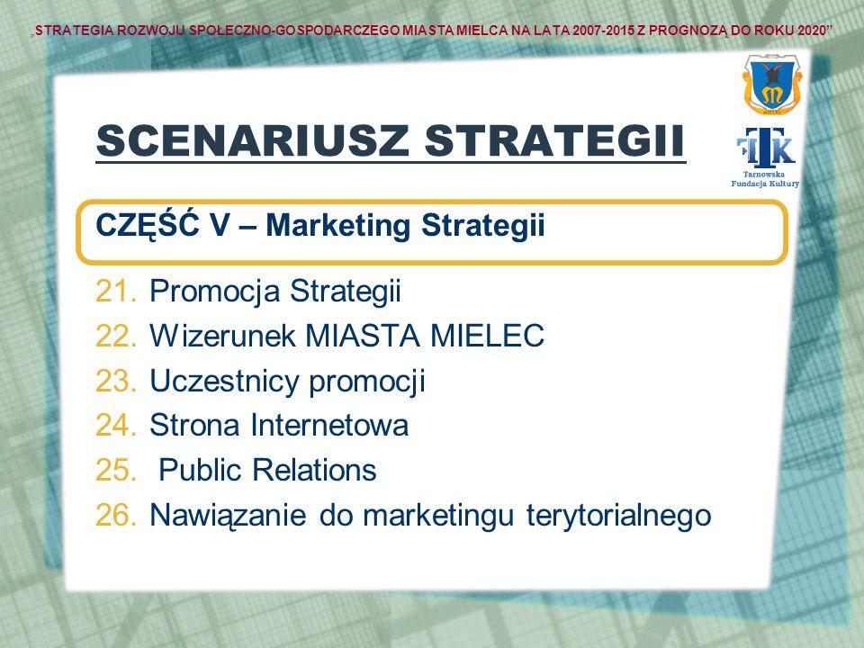 STRATEGIA ROZWOJU SPOŁECZNO-GOSPODARCZEGO MIASTA MIELCA NA LATA 2007-2015 Z PROGNOZĄ DO ROKU 2020 SCENARIUSZ STRATEGII CZĘŚĆ V – Marketing Strategii 2