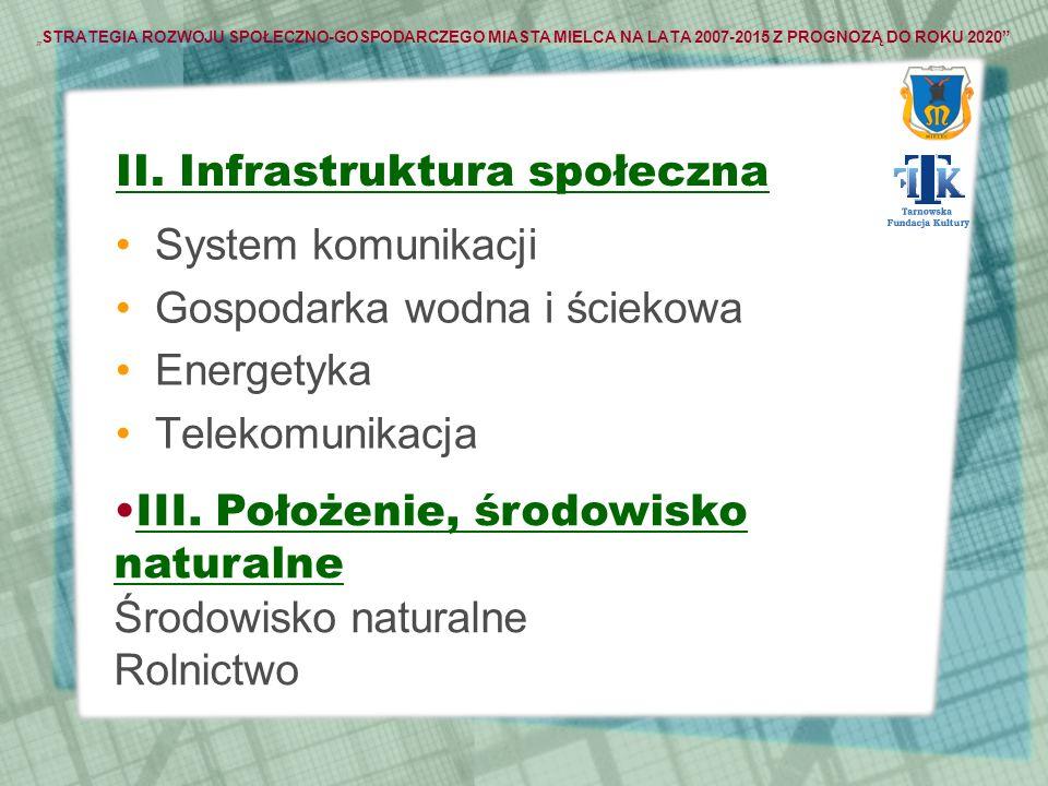 STRATEGIA ROZWOJU SPOŁECZNO-GOSPODARCZEGO MIASTA MIELCA NA LATA 2007-2015 Z PROGNOZĄ DO ROKU 2020 II. Infrastruktura społeczna System komunikacji Gosp