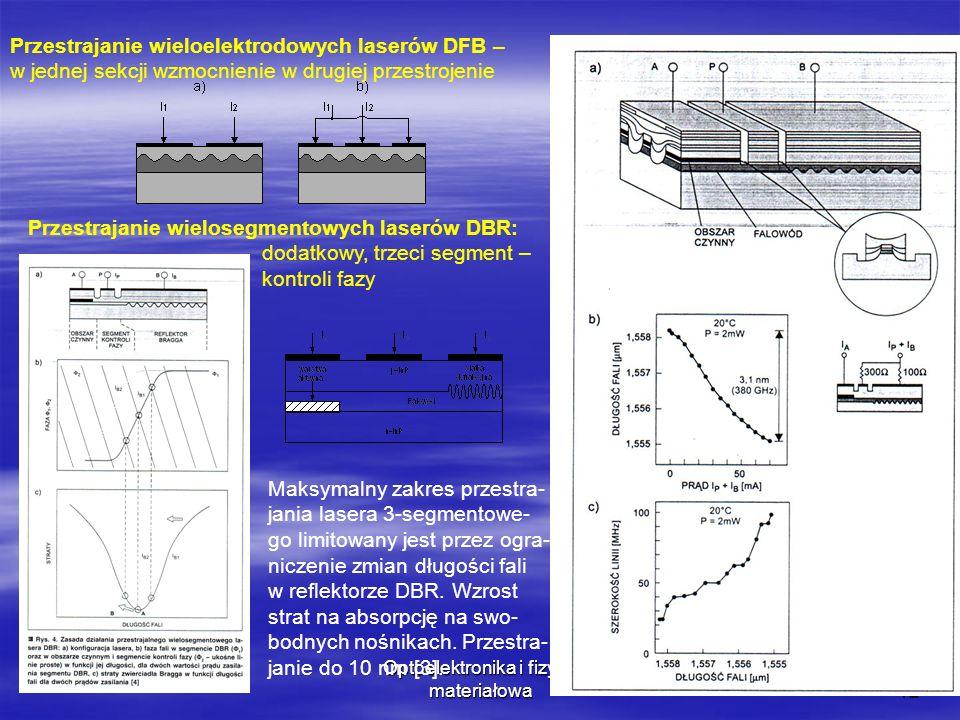 Optoelektronika i fizyka materiałowa12 Przestrajanie wieloelektrodowych laserów DFB – w jednej sekcji wzmocnienie w drugiej przestrojenie Przestrajanie wielosegmentowych laserów DBR: dodatkowy, trzeci segment – kontroli fazy Maksymalny zakres przestra- jania lasera 3-segmentowe- go limitowany jest przez ogra- niczenie zmian długości fali w reflektorze DBR.