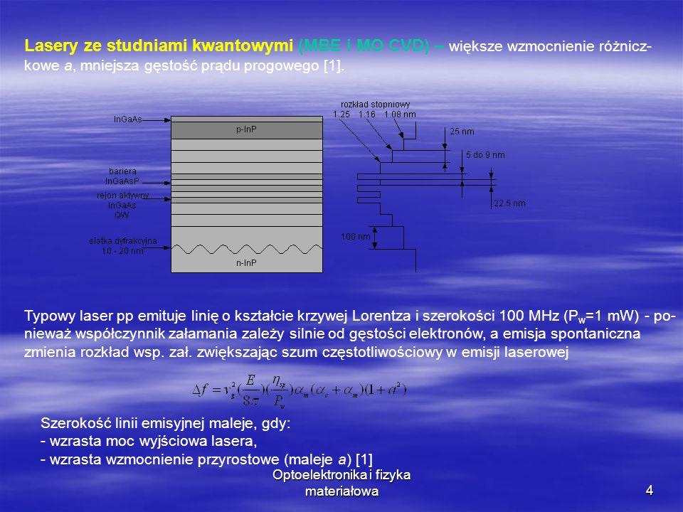 4 Lasery ze studniami kwantowymi (MBE i MO CVD) – większe wzmocnienie różnicz- kowe a, mniejsza gęstość prądu progowego [1].