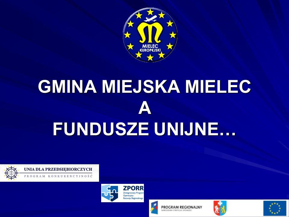 Nazwa inwestycji Od przedszkola do matury: adaptacja bazy edukacyjno-sportowej w Mielcu do kształcenia integracyjnego Nazwa programu UE ZPORR WARTOŚĆ INWESTYCJI 3 831 340,50 % dofinansowania UE 50 % KWOTA DOTACJI 999 973,00