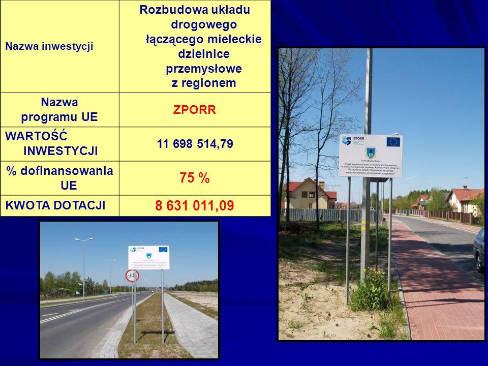 Nazwa inwestycji Rozbudowa układu drogowego łączącego mieleckie dzielnice przemysłowe z regionem Nazwa programu UE ZPORR WARTOŚĆ INWESTYCJI 11 698 514