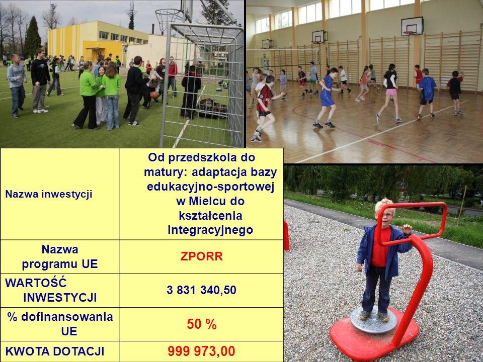 Nazwa inwestycji Od przedszkola do matury: adaptacja bazy edukacyjno-sportowej w Mielcu do kształcenia integracyjnego Nazwa programu UE ZPORR WARTOŚĆ