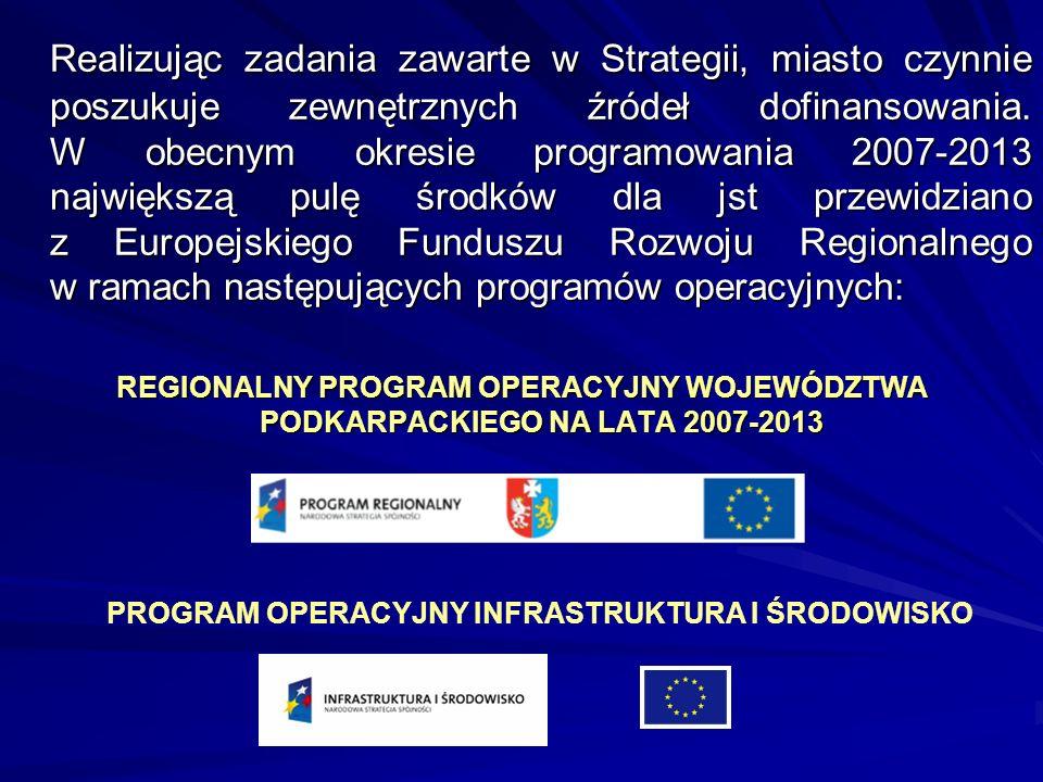 Realizując zadania zawarte w Strategii, miasto czynnie poszukuje zewnętrznych źródeł dofinansowania. W obecnym okresie programowania 2007-2013 najwięk