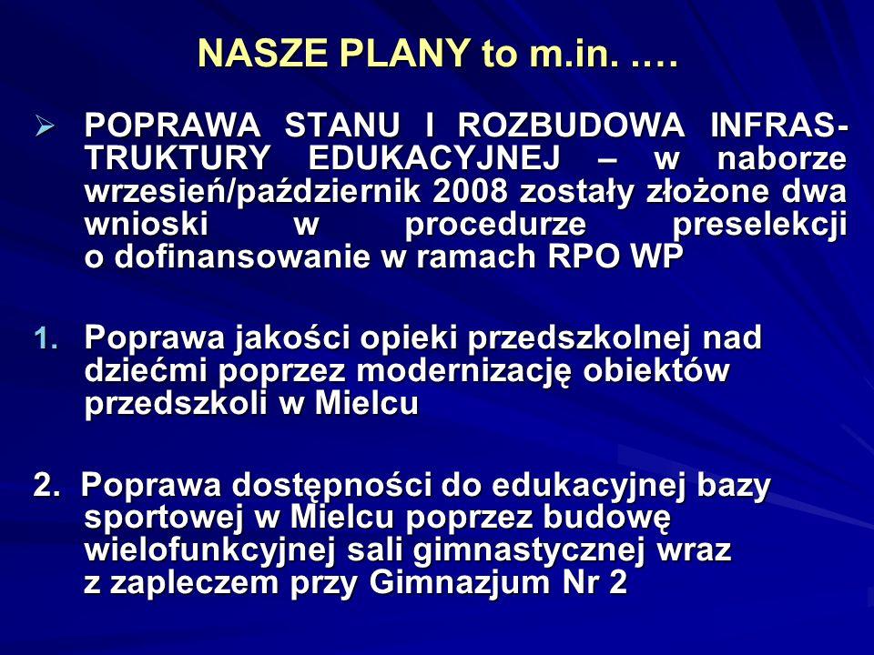 NASZE PLANY to m.in..… POPRAWA STANU I ROZBUDOWA INFRAS- TRUKTURY EDUKACYJNEJ – w naborze wrzesień/październik 2008 zostały złożone dwa wnioski w proc