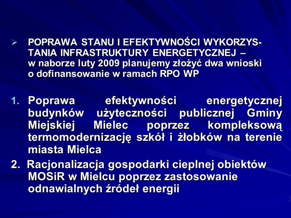 POPRAWA STANU I EFEKTYWNOŚCI WYKORZYS- TANIA INFRASTRUKTURY ENERGETYCZNEJ – w naborze luty 2009 planujemy złożyć dwa wnioski o dofinansowanie w ramach