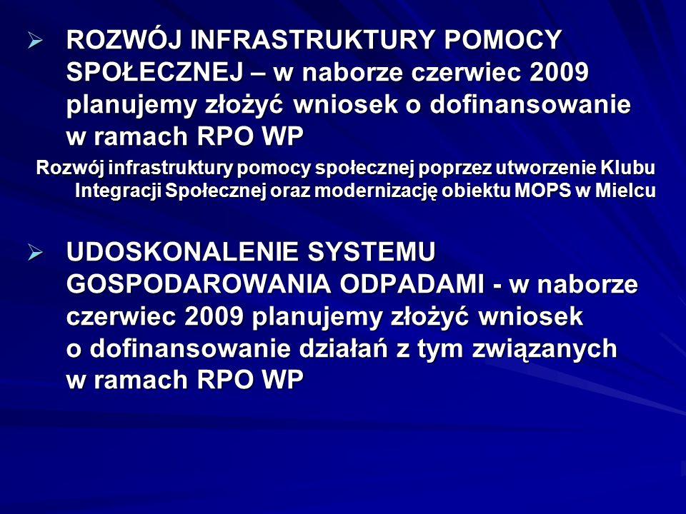ROZWÓJ INFRASTRUKTURY POMOCY SPOŁECZNEJ – w naborze czerwiec 2009 planujemy złożyć wniosek o dofinansowanie w ramach RPO WP ROZWÓJ INFRASTRUKTURY POMO