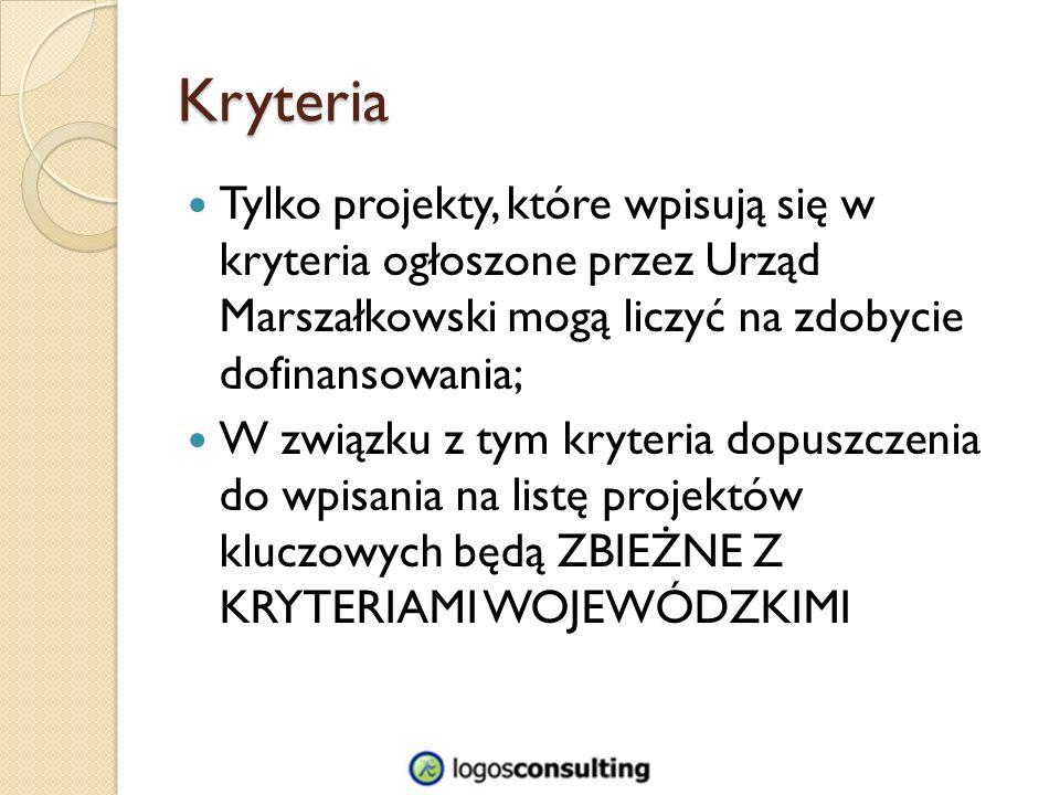 Kryteria Tylko projekty, które wpisują się w kryteria ogłoszone przez Urząd Marszałkowski mogą liczyć na zdobycie dofinansowania; W związku z tym kryteria dopuszczenia do wpisania na listę projektów kluczowych będą ZBIEŻNE Z KRYTERIAMI WOJEWÓDZKIMI