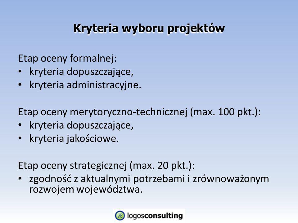 Etap oceny formalnej: kryteria dopuszczające, kryteria administracyjne.