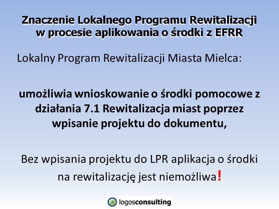 Lokalny Program Rewitalizacji Miasta Mielca: umożliwia wnioskowanie o środki pomocowe z działania 7.1 Rewitalizacja miast poprzez wpisanie projektu do dokumentu, Bez wpisania projektu do LPR aplikacja o środki na rewitalizację jest niemożliwa !