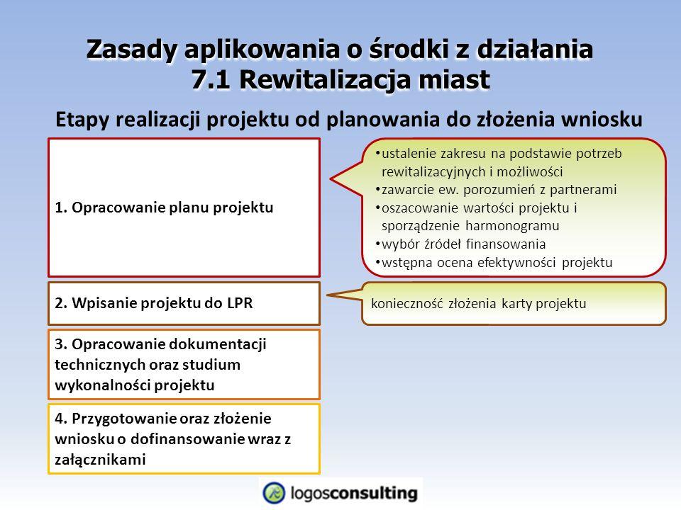 Zasady aplikowania o środki z działania 7.1 Rewitalizacja miast Etapy realizacji projektu od planowania do złożenia wniosku 1.