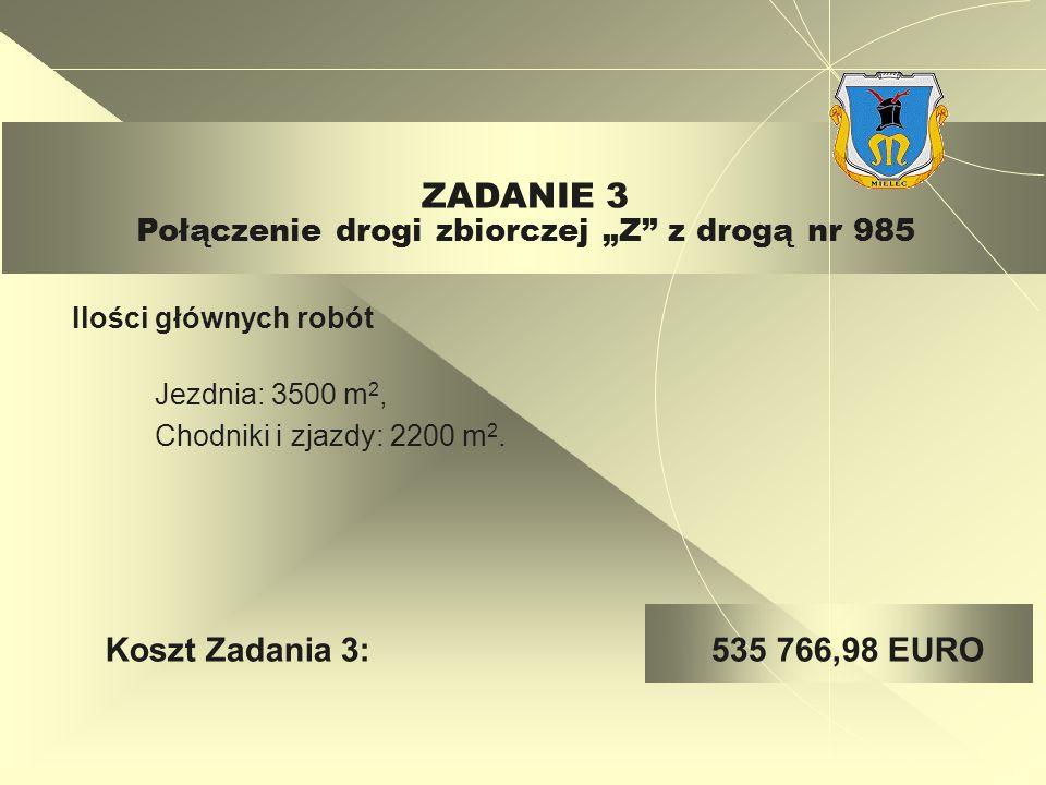 Jezdnia: 3500 m 2, Chodniki i zjazdy: 2200 m 2.