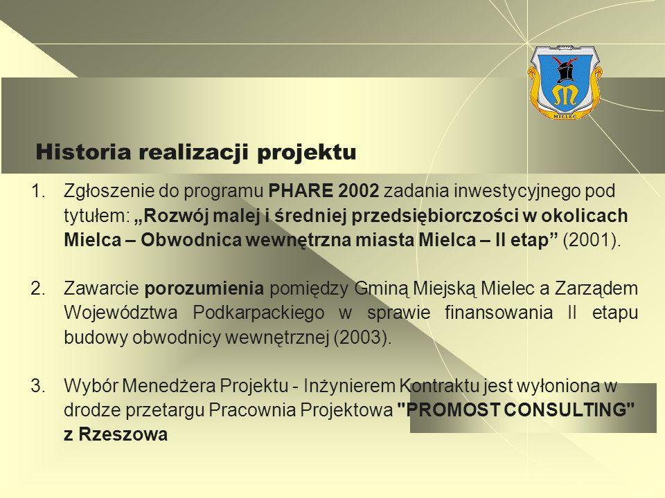 Historia realizacji projektu 1.Zgłoszenie do programu PHARE 2002 zadania inwestycyjnego pod tytułem: Rozwój malej i średniej przedsiębiorczości w okolicach Mielca – Obwodnica wewnętrzna miasta Mielca – II etap (2001).