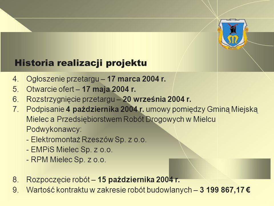 Historia realizacji projektu 4.Ogłoszenie przetargu – 17 marca 2004 r.