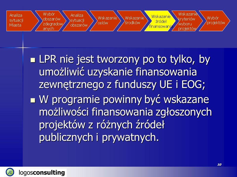 10 LPR nie jest tworzony po to tylko, by umożliwić uzyskanie finansowania zewnętrznego z funduszy UE i EOG; LPR nie jest tworzony po to tylko, by umoż