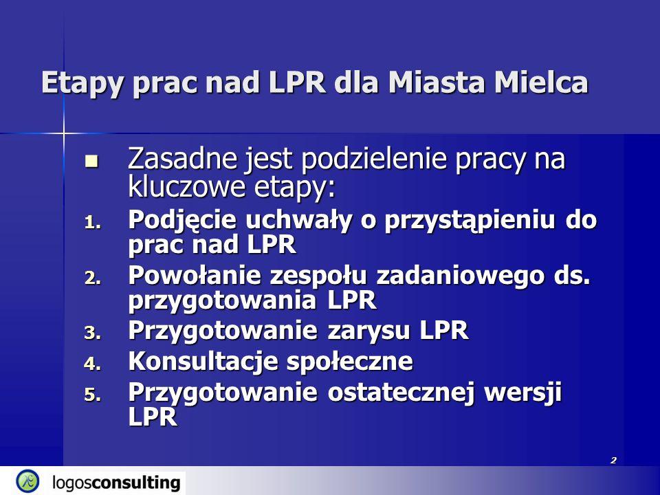 2 Etapy prac nad LPR dla Miasta Mielca Zasadne jest podzielenie pracy na kluczowe etapy: Zasadne jest podzielenie pracy na kluczowe etapy: 1. Podjęcie