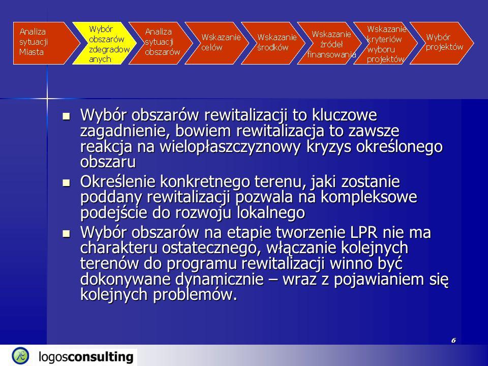 6 Wybór obszarów rewitalizacji to kluczowe zagadnienie, bowiem rewitalizacja to zawsze reakcja na wielopłaszczyznowy kryzys określonego obszaru Wybór