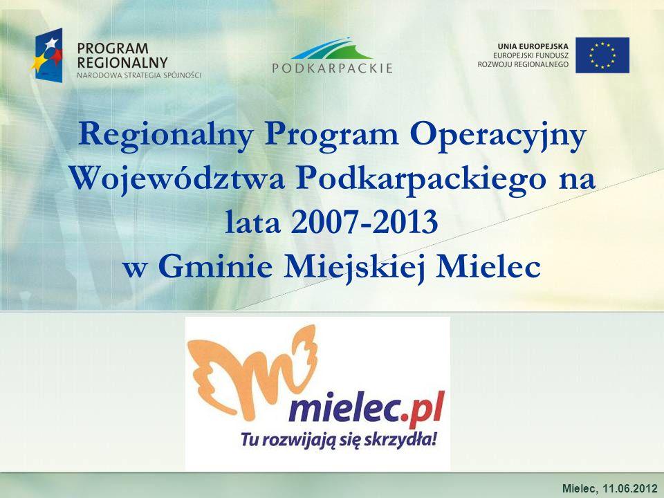 Regionalny Program Operacyjny Województwa Podkarpackiego na lata 2007-2013 w Gminie Miejskiej Mielec Mielec, 11.06.2012