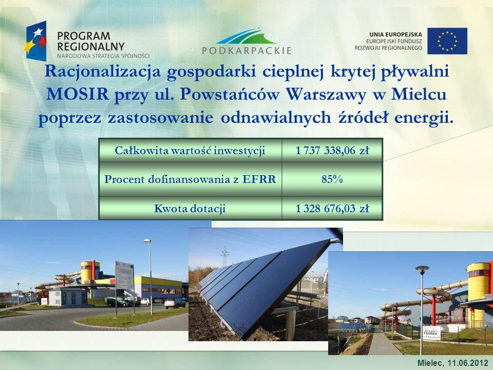 Racjonalizacja gospodarki cieplnej krytej pływalni MOSIR przy ul. Powstańców Warszawy w Mielcu poprzez zastosowanie odnawialnych źródeł energii. Miele