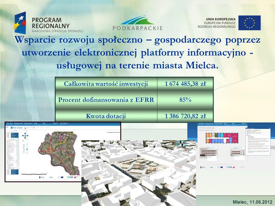Wsparcie rozwoju społeczno – gospodarczego poprzez utworzenie elektronicznej platformy informacyjno - usługowej na terenie miasta Mielca. Mielec, 11.0
