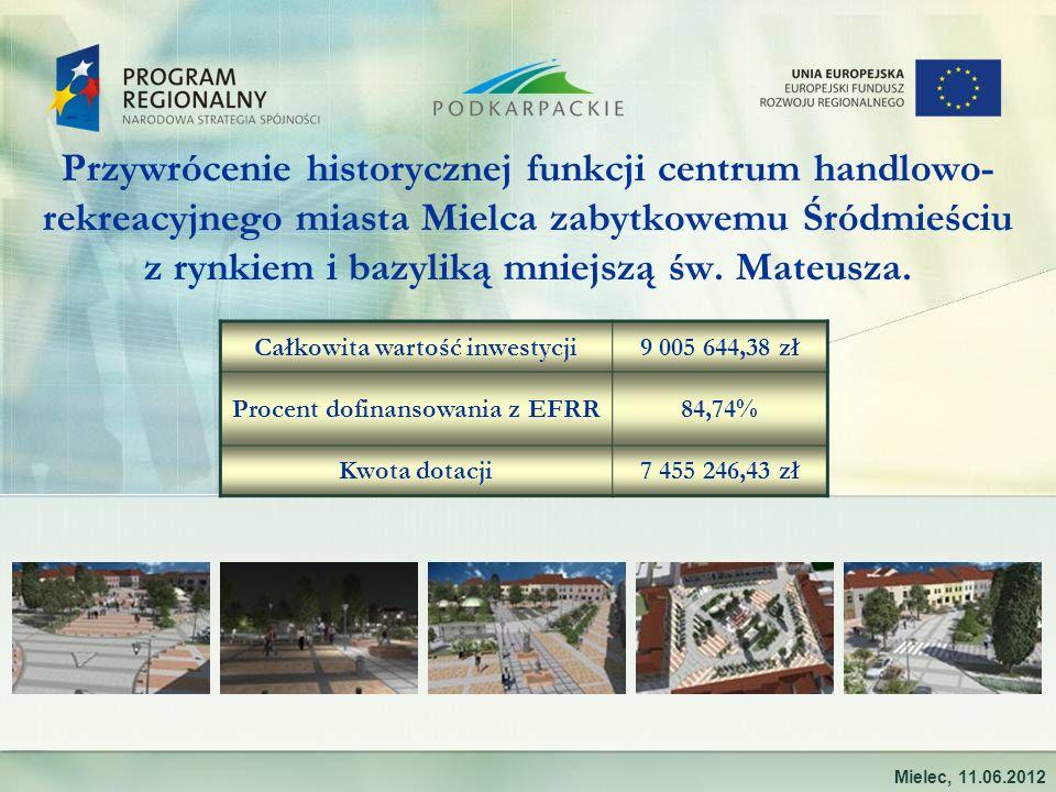 Przywrócenie historycznej funkcji centrum handlowo- rekreacyjnego miasta Mielca zabytkowemu Śródmieściu z rynkiem i bazyliką mniejszą św. Mateusza. Mi