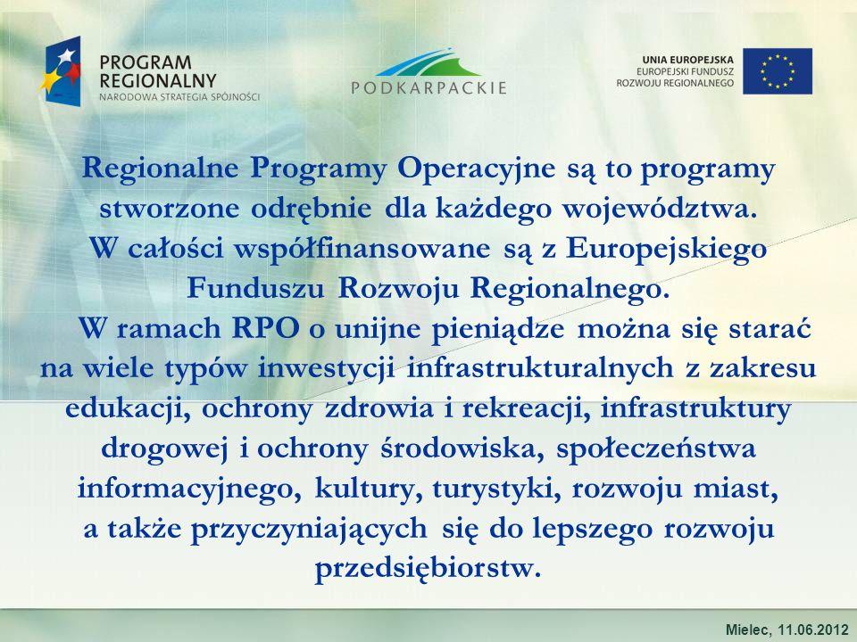 Regionalne Programy Operacyjne są to programy stworzone odrębnie dla każdego województwa. W całości współfinansowane są z Europejskiego Funduszu Rozwo