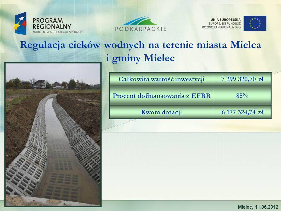 Regulacja cieków wodnych na terenie miasta Mielca i gminy Mielec Mielec, 11.06.2012 Całkowita wartość inwestycji7 299 320,70 zł Procent dofinansowania z EFRR85% Kwota dotacji6 177 324,74 zł