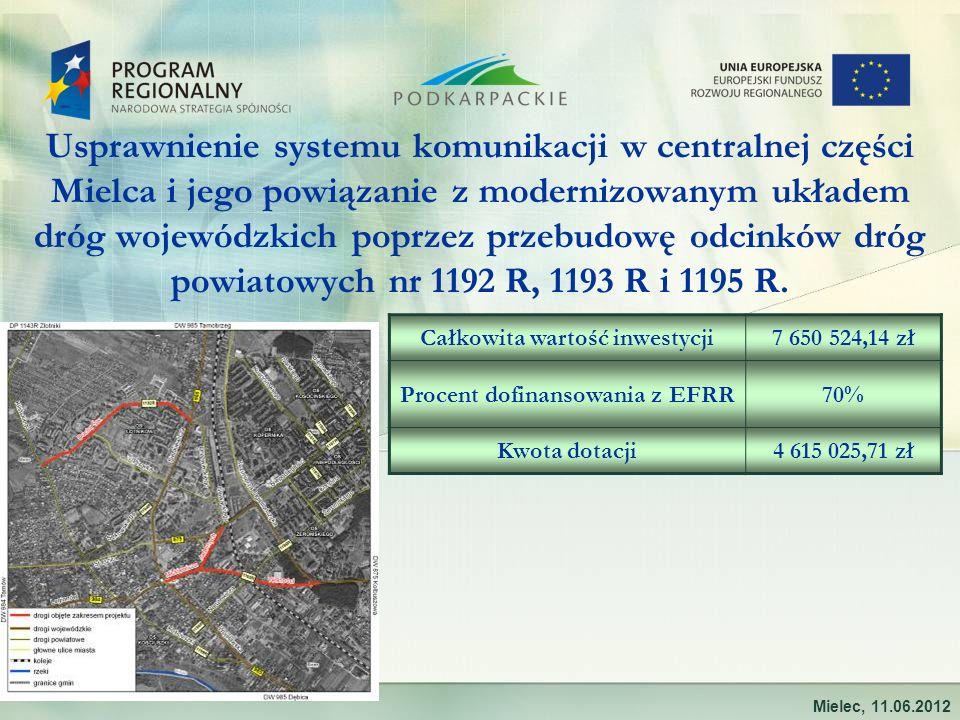 Usprawnienie systemu komunikacji w centralnej części Mielca i jego powiązanie z modernizowanym układem dróg wojewódzkich poprzez przebudowę odcinków dróg powiatowych nr 1192 R, 1193 R i 1195 R.
