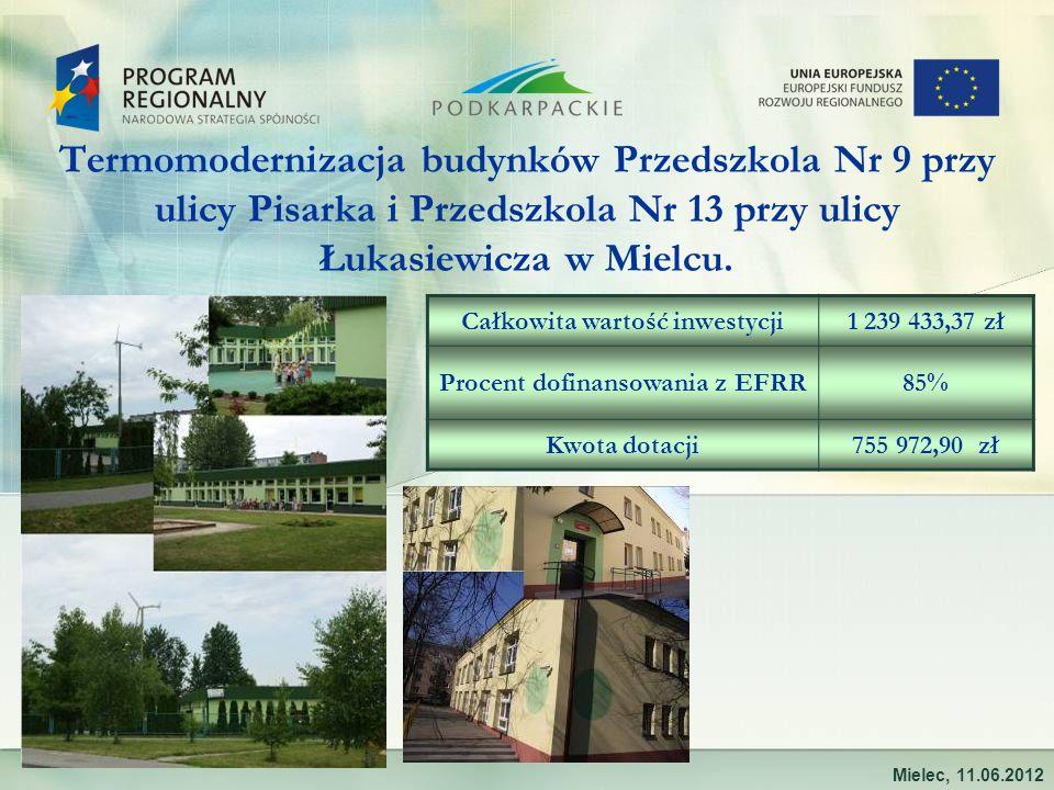 Termomodernizacja budynków Przedszkola Nr 9 przy ulicy Pisarka i Przedszkola Nr 13 przy ulicy Łukasiewicza w Mielcu.