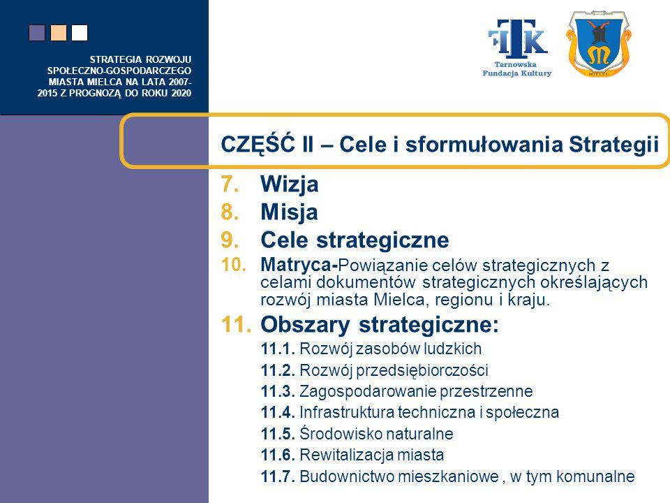 STRATEGIA ROZWOJU SPOŁECZNO-GOSPODARCZEGO MIASTA MIELCA NA LATA 2007- 2015 Z PROGNOZĄ DO ROKU 2020 CZĘŚĆ II – Cele i sformułowania Strategii 7.Wizja 8