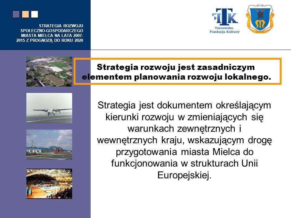 STRATEGIA ROZWOJU SPOŁECZNO-GOSPODARCZEGO MIASTA MIELCA NA LATA 2007- 2015 Z PROGNOZĄ DO ROKU 2020 Strategia jest dokumentem określającym kierunki roz
